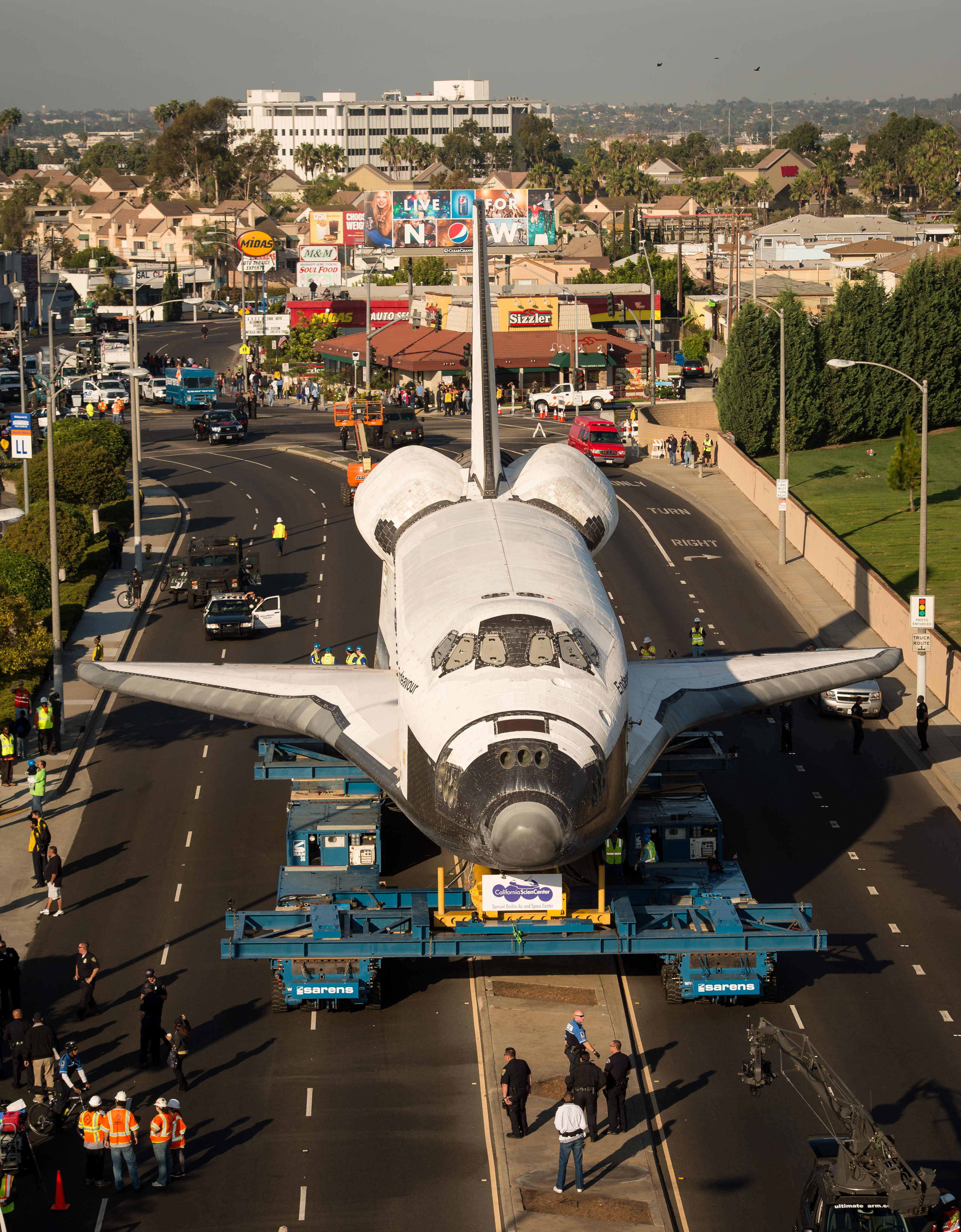 Space shuttle Endeavour parked on a city street