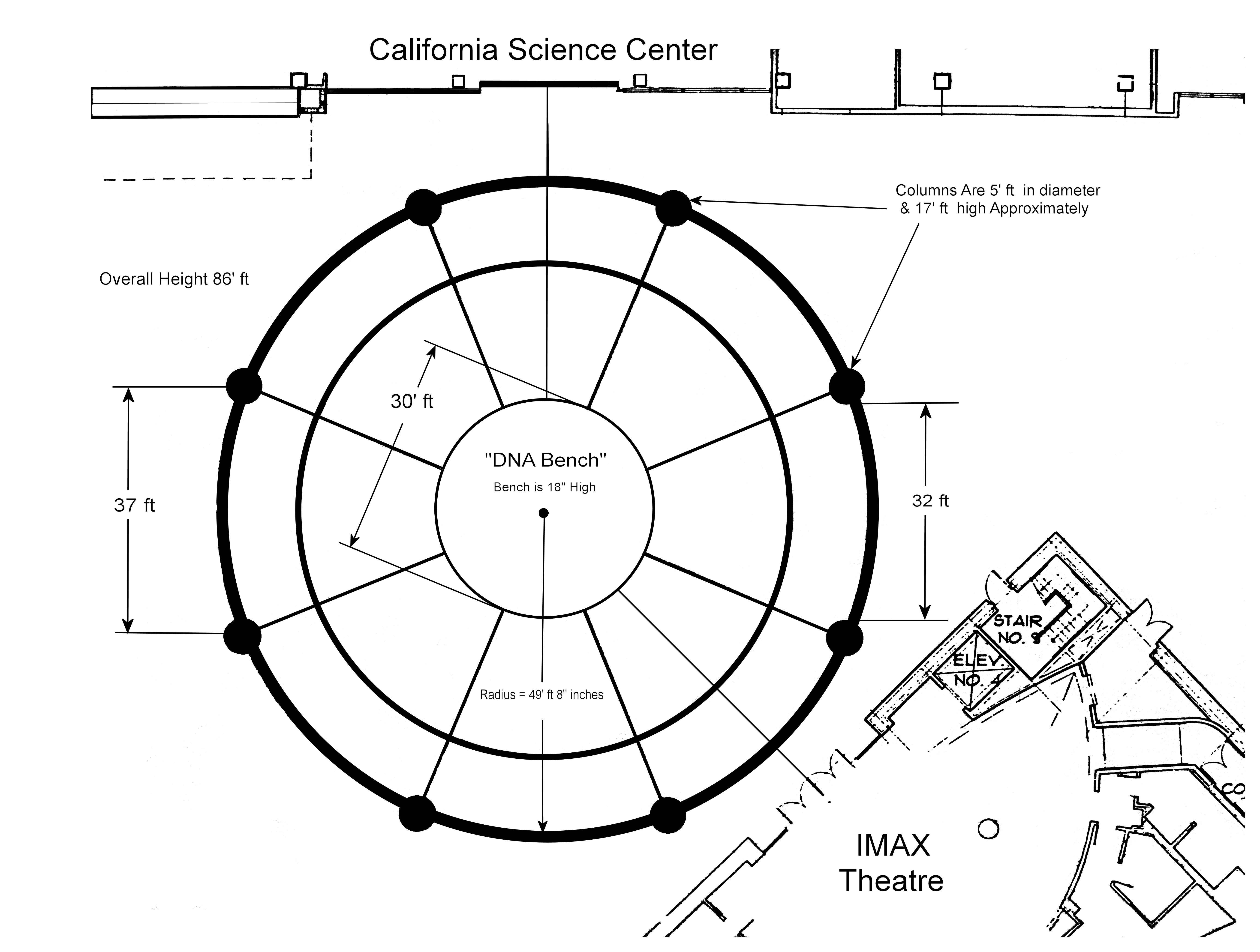 Blank venue diagram of the Lorsch Family Pavilion including DNA bench, IMAX Theatre, and California Science Center labels as well as measurements