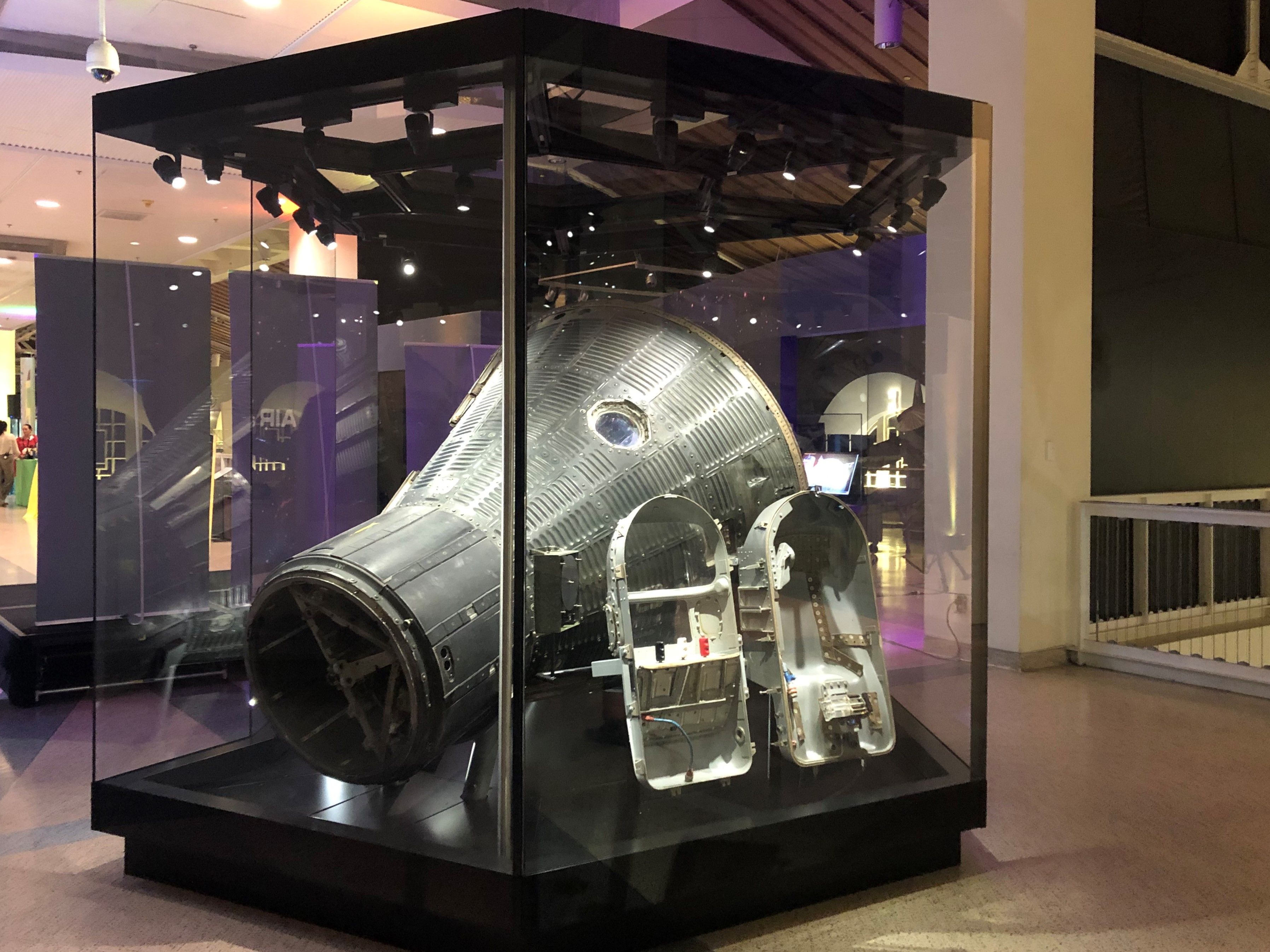 Mercury-Redstone 2 capsule and chimpanzee flight couch on display at the California Science Center