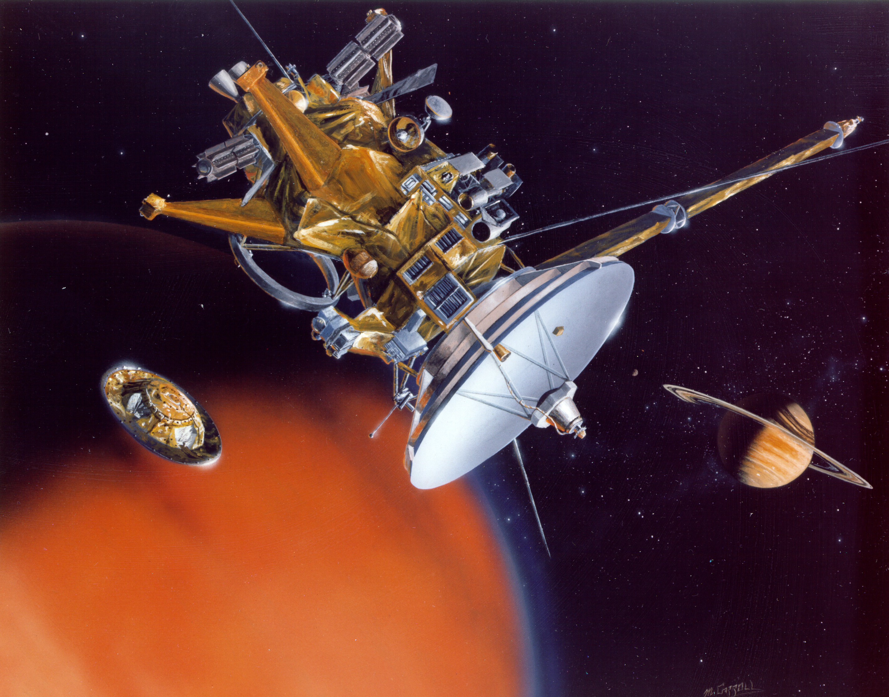 Artist's concept of Cassini releasing the Huygens probe
