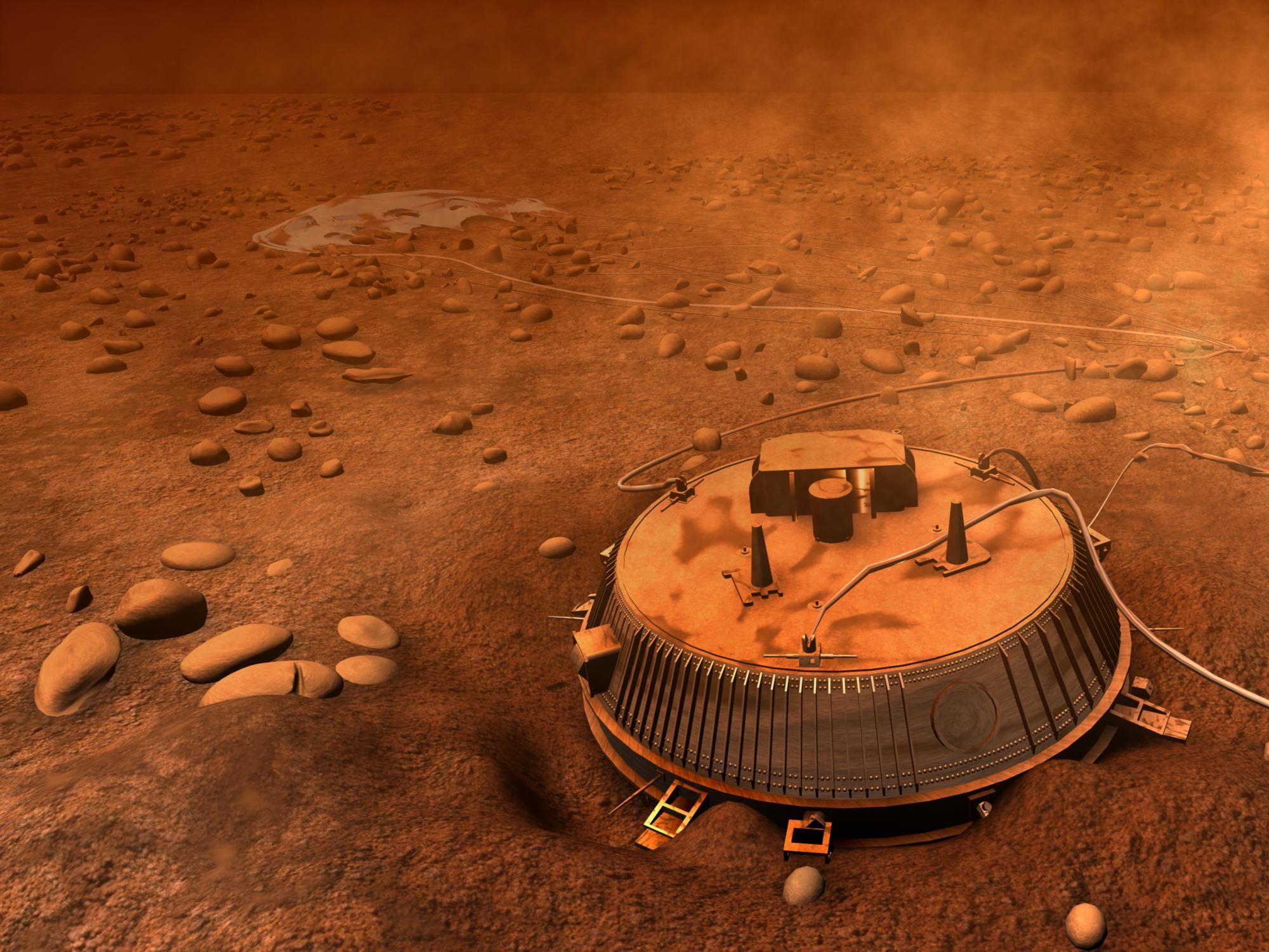 Artist's concept of Huygens on the surface of Titan