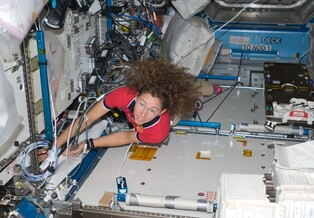 Astronaut Sandra Magnus works inside the International Space Station