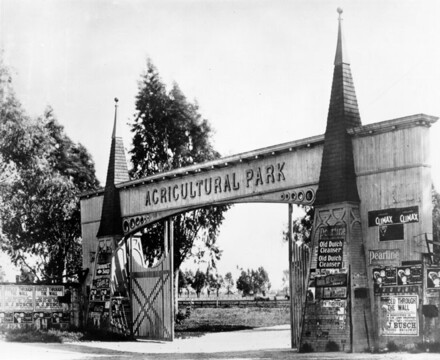 Agricultural Park Gate, located in Exposition Park