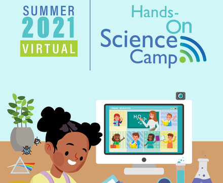 Virtual Camp 2021 logo with illustrated student