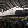 Visitors surround Endeavour inside the Samuel Oschin Pavilion