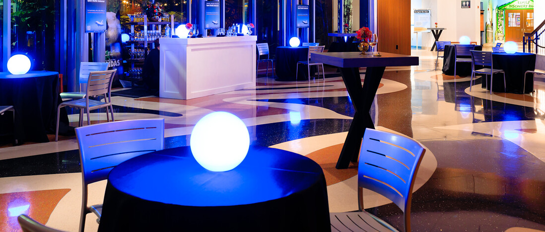 Night cocktail reception in Ecosystems atrium with intimate table groupings and glowing orb centerpieces