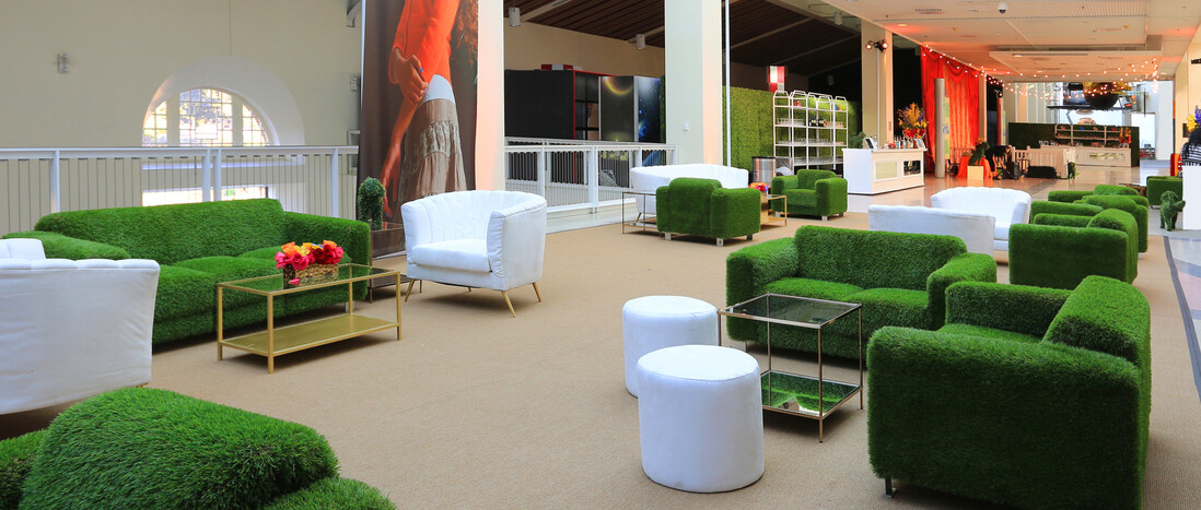 Astroturf lounge furniture vignettes on Disney Science Court for event